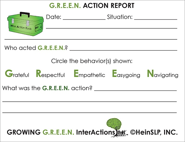 Growing G.R.E.E.N. InterActions Action Report Cards