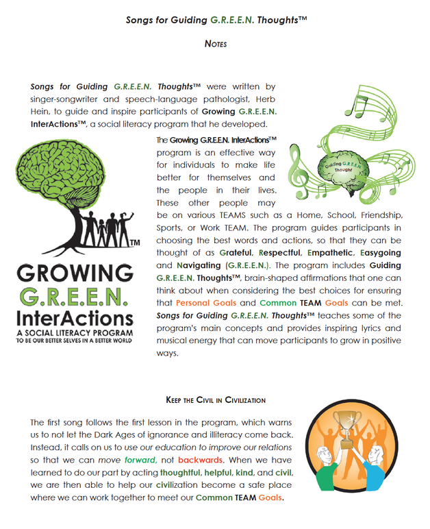 Growing G.R.E.E.N. InterActions Music CD Notes